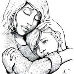Comforting Hug -- interior illustration from Jeremiah Lucky by Jane Freeman